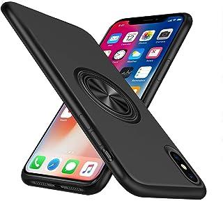 iPhone XS ケース/iPhone X ケースリング付き シリコン 耐衝撃 スタンド機能 マグネット 車載ホルダー 指紋防止 軽量 スリム 薄型 スマホケース 一体型 人気 携帯カバー (ブラック)