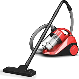 Taltintoo20 1200 Watts Vacuum Cleaner Canister Bagless Cord Rewind Carpet Hard Floor with Washable Filter, Weight 9 Pound, Dust Capacity 2 Liter, Ideal for Cleaning The Corner and Gap, Red