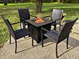 30in Propane Gas Fire Pit Table Set with 4 PE Rattan Chairs, 50000 BTU Auto-Ignition Gas F...