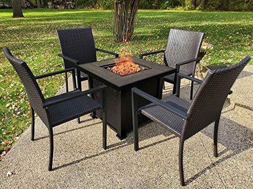 30in Propane Gas Fire Pit Table Set with 4 PE Rattan Chairs, 50000 BTU Auto-Ignition Gas Firepit with Wooden Pattern Tile Cover, CSA Certification, All Weather Bonfire Set