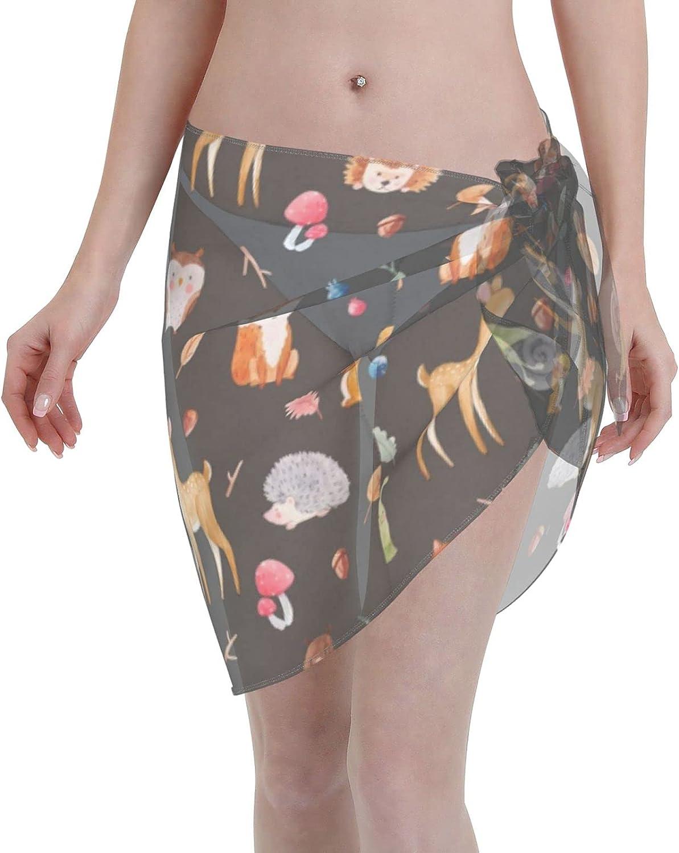 Hedgehog Elk Rabbit Bear Squirrel Women Chiffon Beach Short Sarongs Cover Ups Beach Swimwear Wrap Skirt for Vocation Black