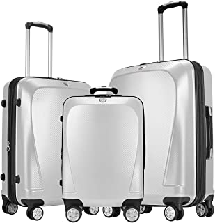 GinzaTravel Widened and thickened large capacity PC Material Luggage 3 Piece Sets Lightweight Spinner Suitcase Luggage Exp...