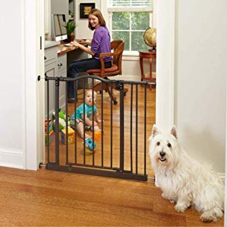 """North States 38.25"""" Wide Portico Arch Baby Gate: Decorative heavy-duty metal safety gate with one-hand operation and durability. Pressure mount. Fits 28.25""""-38.25"""" (28.5"""" tall, Bronze)"""