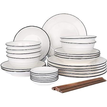 30pcs Service de Table Porcelaine 6pcs Bols à Céréales/ Assiette Plate/Assiette à Dessert/Bols à Sauce/Baguettes Pour 6 Personnes