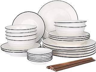 30pcs Service de Table Porcelaine 6pcs Bols à Céréales/ Assiette Plate/Assiette à Dessert/Bols à Sauce/Baguettes Pour 6 Pe...