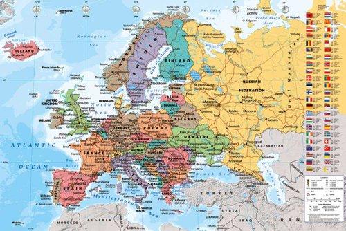 empireposter - landkaarten - Europese map - grootte (cm), ca. 91,5x61 - Poster, NIEUW -