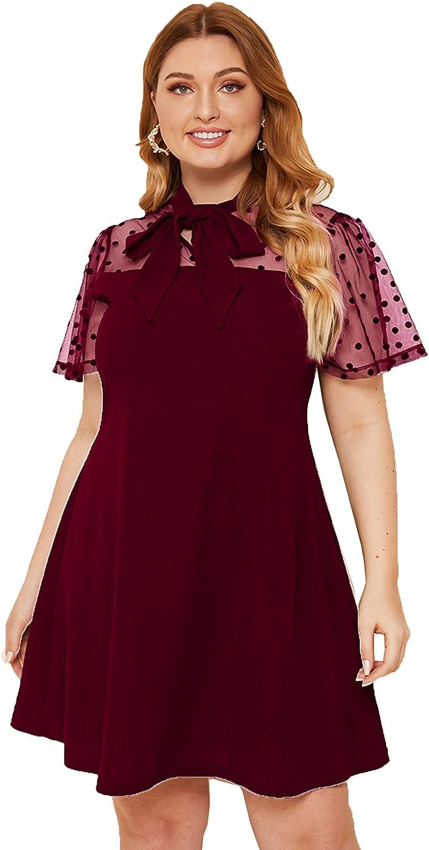 Romwe Women's Plus Size Contrast Mesh Short Sleeve Bow Tie Neck A-Line Party Dress