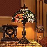 Gweat Tiffany 12 pulgadas Pastoral estilo europeo hecho a mano del vidrio manchado elegante Tabla Rose lámpara de la mesita de luz