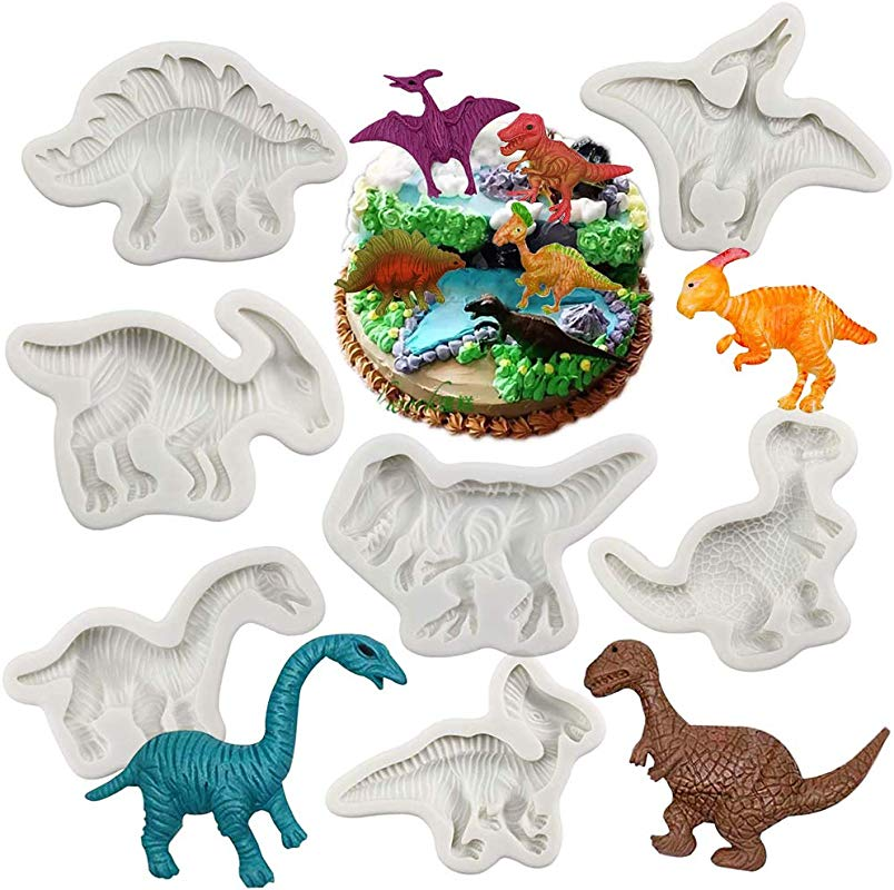 Dinosaur Fondant Molds Silicone Yawooya Large Size Dino Dinosaur Party Mold 7 Set For Cake Decoration Resin Cupacke Toppers Cookie Pop Candy Gum Paste Polymer Clay