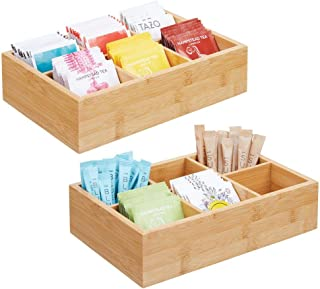 mDesign Bamboo Wood Compact Tea & Food Storage Organizer Bin Box - 6 Divided Sections - Holder for Tea Bags, Coffee, Packets, Sugar/Sweeteners and Small Packets, 2 Pack - Natural