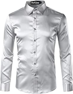 zencardery Camisa De Seda para Hombre 2017 Camisa De Esmoquin Liso Satinada para Hombre Camisa De Negocios Chemise Homme C...
