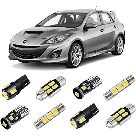 White LED Interior Light Accessories Package kit fits 2004-2009 Mazda 3 MS3