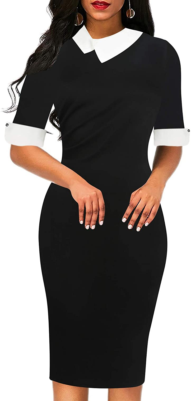 Sakaly Women's Slim Fit Plaid Floral Printed Half Sleeve Formal Body-con Dress Pencil Dresses SK276