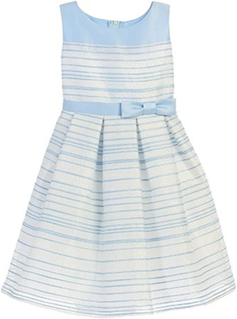 Easter Dress Sleeveless Round Neck Stripe Woven with Organza Bow