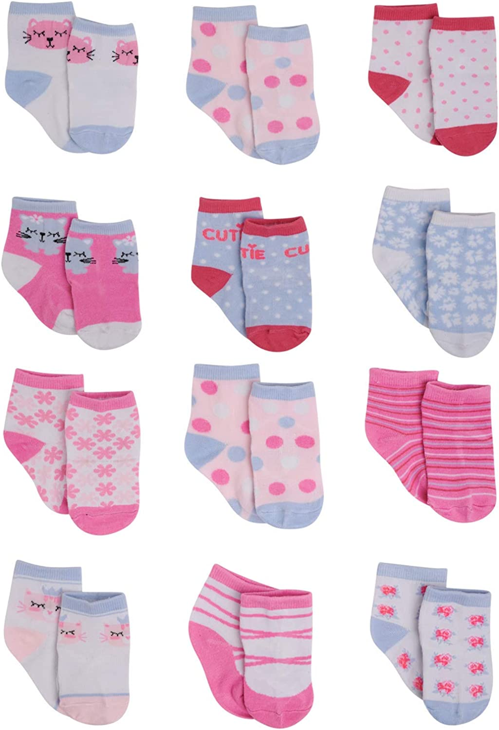 Rising Star Baby Girls Ankle Sock with Character Designs: Unicorn, Kitty and Hearts 12 Pack (Newborn and Infants)