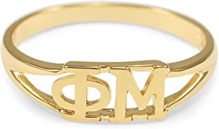 The Collegiate Standard Phi Mu 14k Gold Plated Sorority Ring with Greek Letters