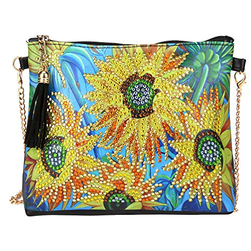 HEEPDD Diamond Painting Bag, DIY Diamond Painting Leder Umhängetasche 5D Diamond Clutch Umschlagpaket Handtasche Sunflower Pattern Chain Bag DIY handgemachtes Bastelgeschenk