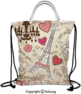 Paris Decor Drawstring Bag waterproof, Doodles Illustration of Eiffel Tower Hearts Chandelier Flower Love Themed Vintage Artwork Lightweight Gym Sackpack for Hiking Yoga Gym Swimming Travel Beach,Beig