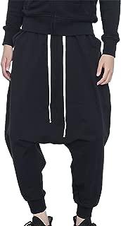 Men's Hip-hop Pants Casual Jogging Harem Pants Drop Crotch Loose Baggy Black