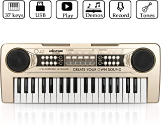 JINRUCHE Piano for Kids, 37Keys Multi-Function Electronic Keyboard Piano Play Piano Organ with Microphone and U-Disk Play Music Educational Toy for Toddlers Kids Children (Champagne)
