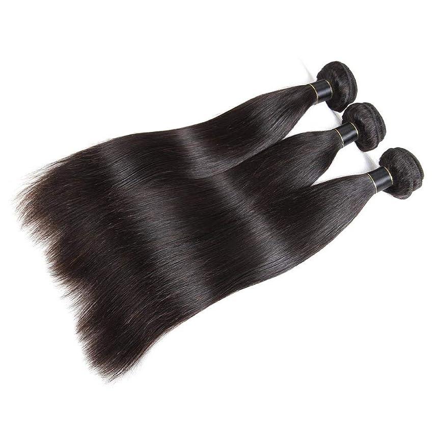 犠牲歯科医ペックBOBIDYEE 絹のようなストレート人間の髪の束ストレートバージン人間の髪の織り方エクステンションナチュラルブラック(10インチ-26インチ)女性用合成かつらレースかつらロールプレイングかつら (色 : 黒, サイズ : 18 inch)