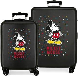 Disney Have a good day Mickey Juego de maletas Negro 55/68 cms Rígida ABS Cierre combinación 104L 4 Ruedas dobles Equipaje...