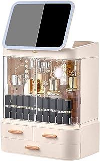 منظم المكياج المقاوم للماء من دريك، منظم أدوات التجميل متعدد الوظائف مع مرآة LED، صندوق تخزين مستحضرات التجميل المحمول للح...