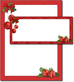 Red Christmas Bulbs Holiday Paper & Envelopes - 40 Sets