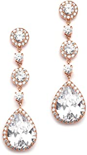 Mariell Pierced or Clip-On Silver, Gold or Rose Gold Dangle Statement Earrings for Women, Brides, Wedding