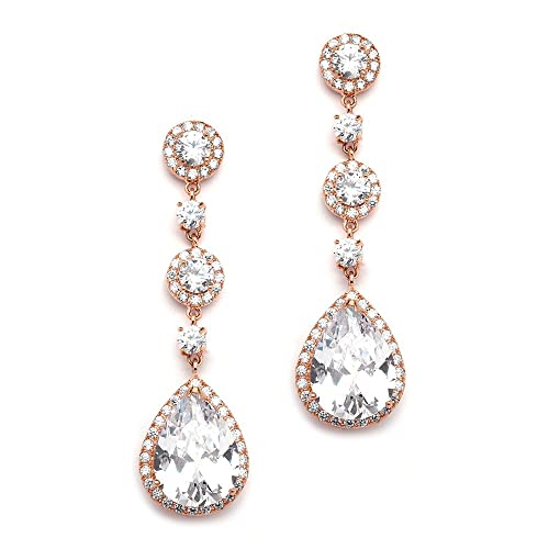 a8a4044b0 Mariell Pierced or Clip-On Silver, Gold or Rose Gold Dangle Statement  Earrings for