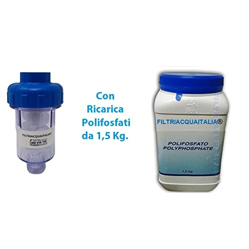 Filtre anticalcaire pour machine à laver avec 10recharges de polyphosphate de 1,5kg