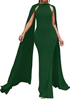 Enggras Women's Elegant Long Evening Dresses Mermaid Formal Gown Prom with Cape