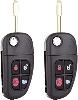 ECCPP Keyless Remote Flip Car Key Fob Uncut Ignition Key Fob Replacement fit for Jaguar S-Type/Jaguar X-Type/Jaguar XJ8 NHVWB1U241 NHVWBIU241 NHVWB1U243 CWTWB1U243 (Pack of 2)