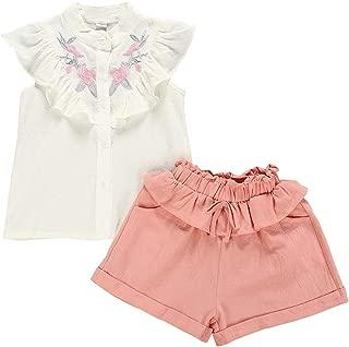 BOIZONTY Kids Baby Girls Outfits Floral Ruffle Off Shoulder Crop Tops + Bowknot Denim Shorts Skirt Set Toddler Summer Clothes
