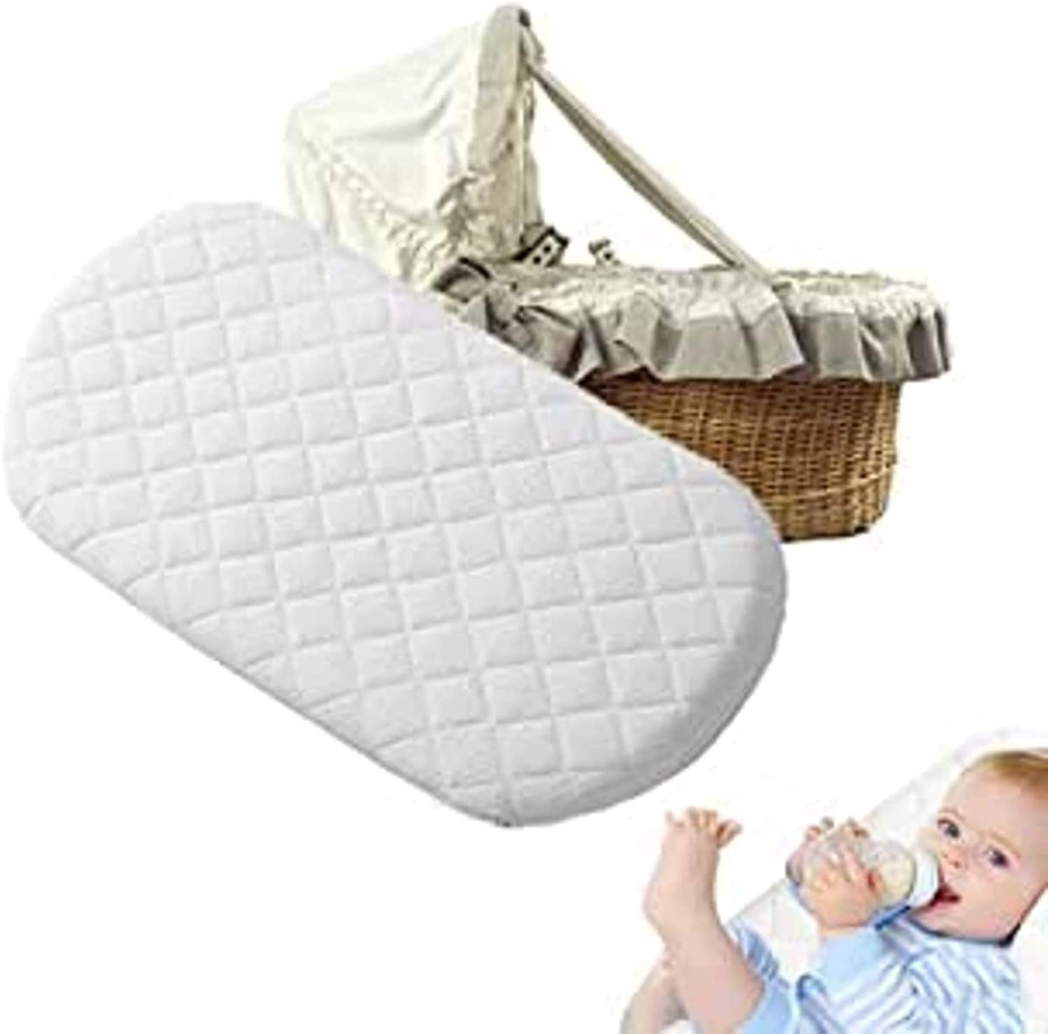 Mothercare Baby Mattress Pram Oval Shaped Bassinet Baskets with Quilted Washable Covers Pram Moses Basket Crib 66 x 28 x 4 cm Microfiber Fits Moses Basket Memory Foam Mattress