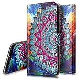 Custodia Cover per Huawei P10,Ukayfe Luxury Glitter Modello 3D Design Bumper Slim Folio Protectiva Lussuosa PU pelle Custodia Flip Cover Portafoglio Custodia per Huawei P10-Fiore metà
