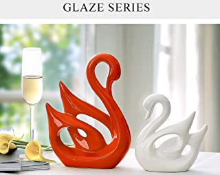 Ceramic Crafts Modern Home Living Room Wine Cabinet Bedroom Decoration Wedding Gift Decoration Creative Couple Swan Jingdezhen Ceramics Home Decoration Gift Boutique (Red(Large)White(small))