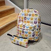 CAVEEN Emoji Backpack, 2Pcs Children's Bag Pencil Case Cute 3D Emoji Emotion Rucksack Unisex Cartoon Bag for Boys Girls Casual Daypack Travel Hand Cabin Luggage Emoji Hologram Bag School Outdoors