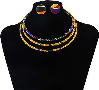 مجموعة قلادة أفريقية طباعة داشيكا تراديشن قماش مضفر قلادة النمط الأفريقي طوق قلادة للنساء