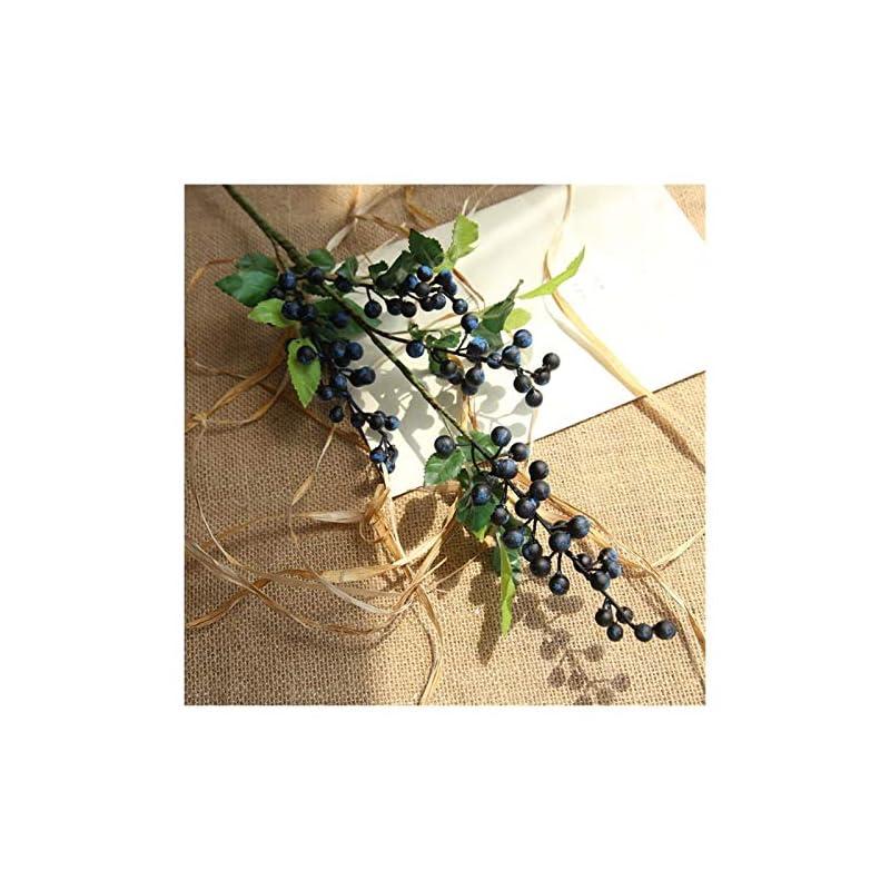 silk flower arrangements jing ger long artificial berry branches flowers wedding decoration fake foam flowers home autumn decoration fall garden plant decor (color : navy berry)