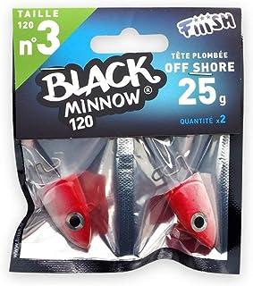 Black Minnow Fiiish Lures Cabezas Jig BM120 - Cabeza Plomada para Señuelo Blando de Vinilo - Pesca Spinning de Bass Lubina y Otras Especies - Pack x 2 Cabezas Nº3 (Shore jighead - 25g - Rouge)