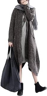 neveraway Women's Linen Cotton Coat Handkerchief Hem Front Zipper Dresses