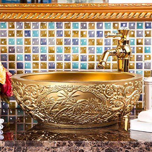 YYZD Lavabo de cerámica Lavabo de cerámica dorada lavabo de baño lavabo de encimera inodoro champú solo lavabos de grifo