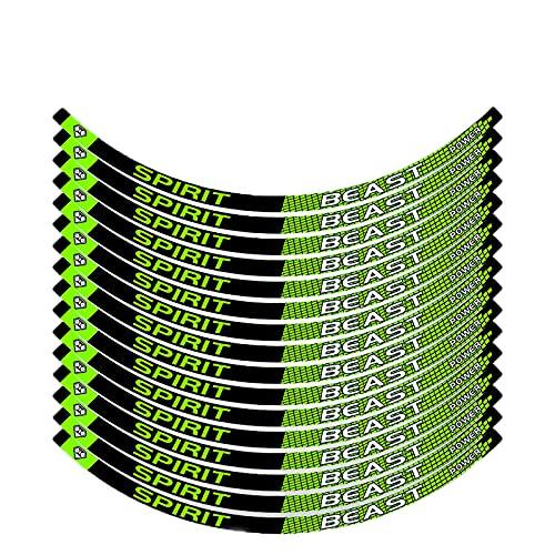Pegatinas de Tiras de Ruedas,Pegatinas Llantas Moto 16 Piezas de 10-18 Pulgadas Pegatinas de Tiras de Ruedas Reflectantes Adhesivos para Borde de llanta Juego Completo (Green,17 Inch Width 1CM)
