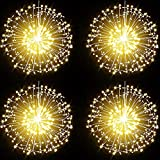 200 LED Dandelion Fairy String Lights, 8 Modes Dimmable String Fairy Lights with Remote Control,Waterproof Copper Wire Decorative Hanging Starburst Lights for Patio Party Christmas Decoration