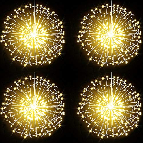 Dandelion Firework Lights 198LED Warm White String Lights,8 Modes Dimmable String Fairy Lights with Remote Control,Waterproof Copper Wire Decorative Hanging Starburst Lights for Christmas Decoration