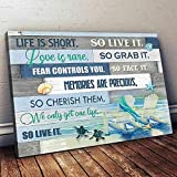 Life is Short Love is Rare Beach Turtle Memories Live it Wall Paper Unframe Poster (17x11)