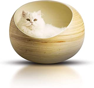 Stylish Igloo Cat Cave Bed - Luxury Bamboo Pet Beds for Cats and Small Dogs - Deluxe Handmade Animal Bed - Eco-Friendly Po...