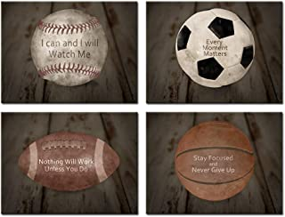 Kreative Arts Inspirational Sports Quotes Prints Wall Art Canvas Set of 4 Vintage Posters Stretched Baseball Basketball Soccer Football Photos Great Gift for Boy's Room Decor Ready to Hang