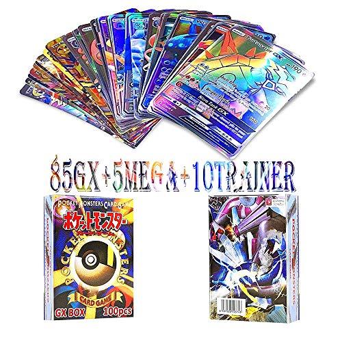 WOJIM - 100 Piezas Pokemon Cartas,Tarjetas de Pokemon,Pokemon Trading Cards,Cartas Pokemon Game Battle Card,85GX+5MEGA+10TRAINER
